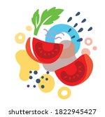 tomato on abstract summer... | Shutterstock .eps vector #1822945427