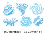 set of blue water splashes with ... | Shutterstock .eps vector #1822945454