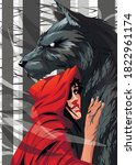 Female In Red Hood And Wolf...
