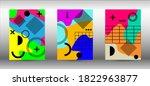modern memphis background set... | Shutterstock .eps vector #1822963877