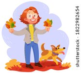 red haired girl and her dog... | Shutterstock .eps vector #1822982654