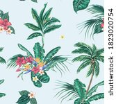 tropical palm trees  exotic... | Shutterstock .eps vector #1823020754