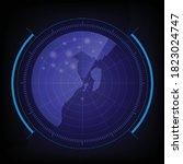 vector blue digital radar air... | Shutterstock .eps vector #1823024747