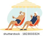 old senior couple enjoying a... | Shutterstock .eps vector #1823033324