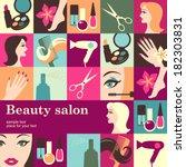 beauty salon design template... | Shutterstock .eps vector #182303831