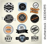 set retro vintage ribbons and... | Shutterstock .eps vector #182304395