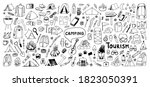 huge hand drawn vector camping... | Shutterstock .eps vector #1823050391