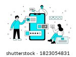 a group of developers... | Shutterstock .eps vector #1823054831