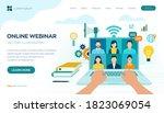 webinar. internet conference.... | Shutterstock .eps vector #1823069054