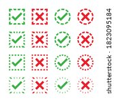green tick and red cross on...