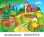 farm theme with hen and... | Shutterstock .eps vector #182319215
