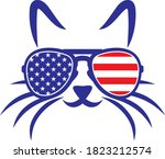cat with us flag sunglasses | Shutterstock .eps vector #1823212574