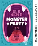 monster party. color invitation ... | Shutterstock .eps vector #1823219354