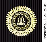 business competition, podium icon inside shiny badge.
