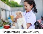 portrait of a little asian girl ... | Shutterstock . vector #1823240891