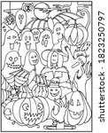 halloween coloring page. witch  ... | Shutterstock .eps vector #1823250797
