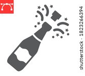 champagne bottle popping glyph...   Shutterstock .eps vector #1823266394