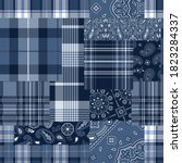 bandana motifs and tartan plaid ... | Shutterstock .eps vector #1823284337