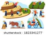 asian farm rice fields vector... | Shutterstock .eps vector #1823341277