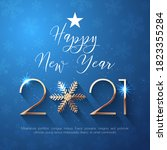 happy new year 2021 text design.... | Shutterstock .eps vector #1823355284