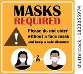 masks required sign. please do... | Shutterstock .eps vector #1823355974
