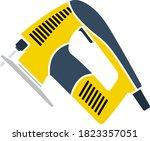 jigsaw icon. flat color design. ...