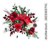 merry christmas floral vector... | Shutterstock .eps vector #1823363741