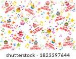 happy birthday. seamless... | Shutterstock . vector #1823397644