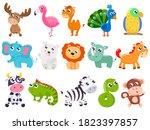big set of cute cartoon animals.... | Shutterstock .eps vector #1823397857