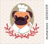 pug chef frenchman | Shutterstock .eps vector #182341559
