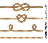 set of ropes with knots. | Shutterstock .eps vector #182343029