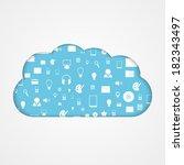 vector cloud computing concept. ... | Shutterstock .eps vector #182343497