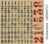 rubber stamp serif numbers  ten ... | Shutterstock .eps vector #182345717