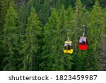 Two Cabins Of The Chairlift In...
