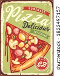 delicious pizza slice with... | Shutterstock .eps vector #1823497157