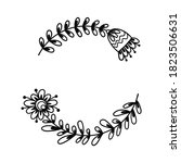 hand drawn bohemian wreath with ... | Shutterstock .eps vector #1823506631