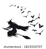 flying bats and witch ... | Shutterstock .eps vector #1823520707