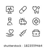 emergency care line icons set.... | Shutterstock .eps vector #1823559464