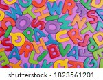 colored letters on a lilac...   Shutterstock . vector #1823561201