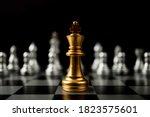 Golden King Chess Standing In...