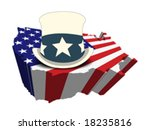 uncle sam's top hat on blue and ... | Shutterstock .eps vector #18235816