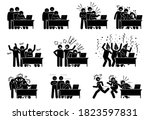 group of friends reactions... | Shutterstock .eps vector #1823597831
