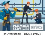 plumber service maintenance and ...   Shutterstock .eps vector #1823619827