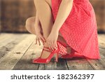 red skirt woman and wooden... | Shutterstock . vector #182362397