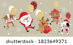 merry christmas greeting card... | Shutterstock .eps vector #1823649371