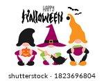 halloween scandinavian gnomes... | Shutterstock .eps vector #1823696804