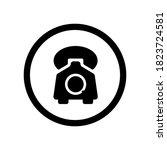 retro phone icon symbol vector...