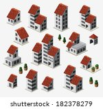 farmhouses set isolated on