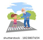 good child helping senior man... | Shutterstock .eps vector #1823807654