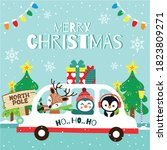 merry christmas greeting card... | Shutterstock .eps vector #1823809271